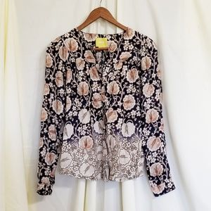Anthropologie Maeve floral blouse navy button down